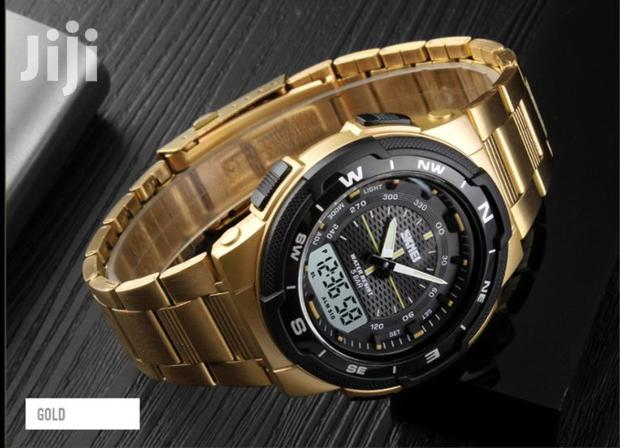 Archive: Gold Stainless Analogue& Digital Skmei Wrist Watch