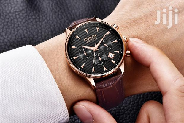 Archive: NORTH Brown Leather Mens Watch Fashion Chronograph
